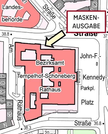 Skizze des Ausgabeortes für Schutzmasken am Rathaus Schöneberg