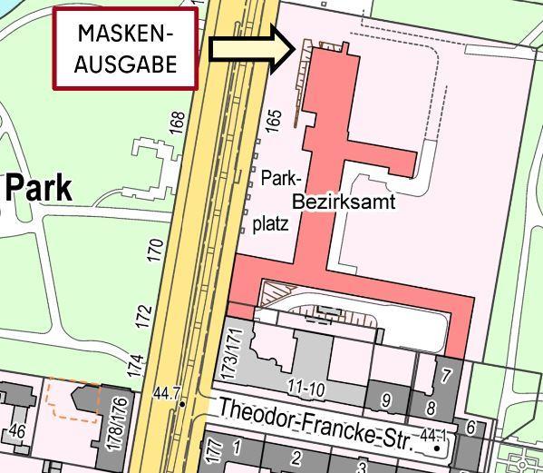 Skizze des Ausgabeortes für Schutzmasken am Rathaus Tempelhof