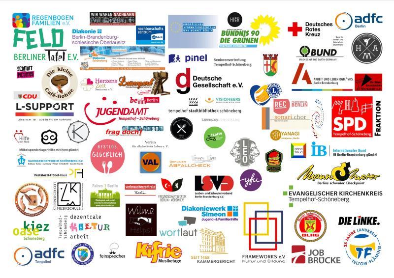 Bildvergrößerung: Logos der Teilnehmenden des Nachbarschaftsfestes am 25. Mai 2019
