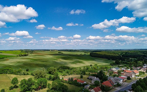 View over a village in the county Uckermark.