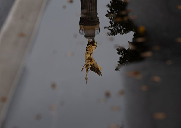 The victory column is reflected in a puddle of rain.
