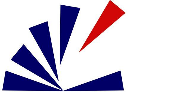 Logo der Stadtbibliothek Marzahn-Hellersdorf Strahlenkranz aus fünf blauen und einem roten Balken