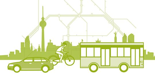Depiction of means of transport (car, bike and bus)