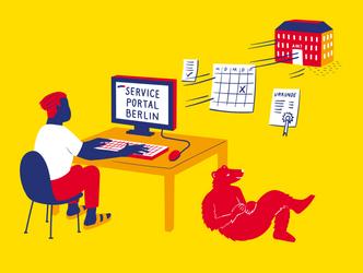 Illustration Digitale Verwaltung Service Portal 3zu4