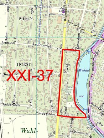B-Plan XXI-37 - Ausschnitt Bezirkskarte mit Geltungsbereich