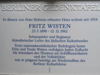 Berliner Gedenktafel für Fritz Wisten