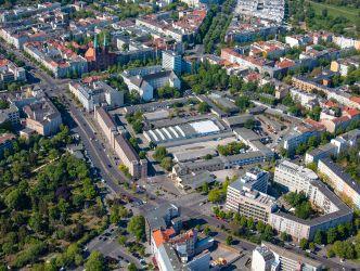 Luftbild des Rathausblocks