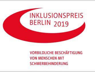 Logo mit der Aufschrift Inklusionspreis Berlin 2019 - Vorbildliche Beschäftigung von Menschen mit Behinderung