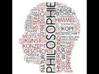 Umriss von einem Kopf mit dem Wort Philosophie und weiteren Wörten zum Thema gefüllt