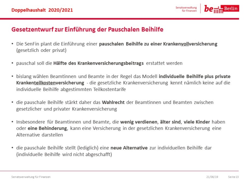 Pauschale beihilfe berlin