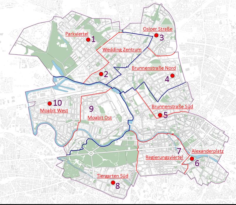 Berlin Mitte Karte.Die 10 Stadtteilkoordinationen Im Bezirk Mitte Berlin De